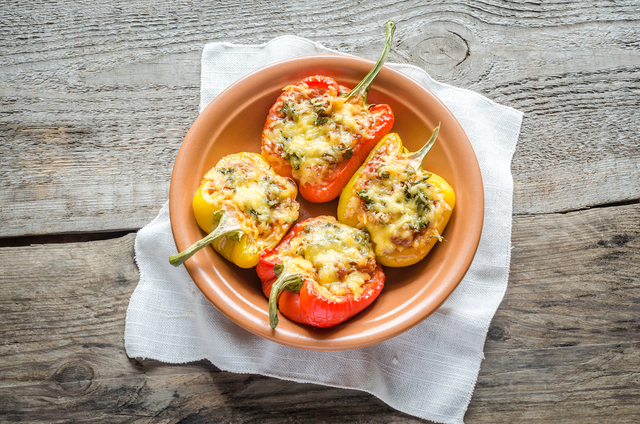 Stuffed peppers with halloumi and cous cous