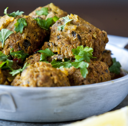 Lamb and feta meatballs with wholemeal tortillas or flatbreads