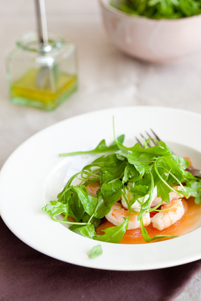 Smoked salmon and prawns, with a creamy vinaigrette