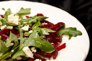 Marinated beetroot with goats cheese