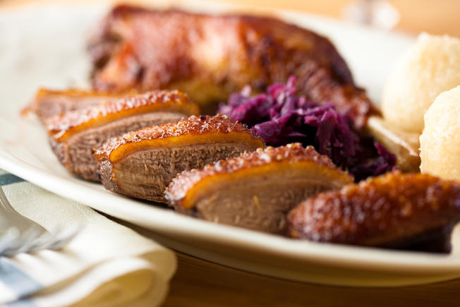 Duck with savoy cabbage