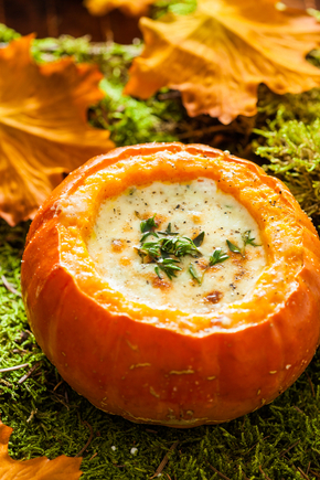 Creamy roasted pumpkin soup with thyme and parmesan