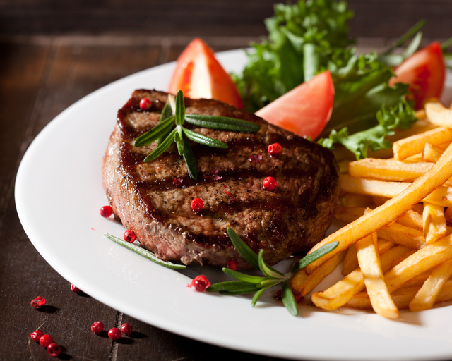 Balsamic, peppercorn steaks with homemade chips