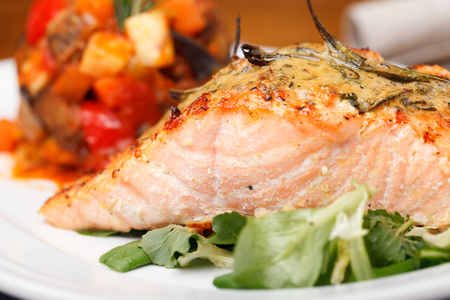 Creamy salmon with chunky ratatouille