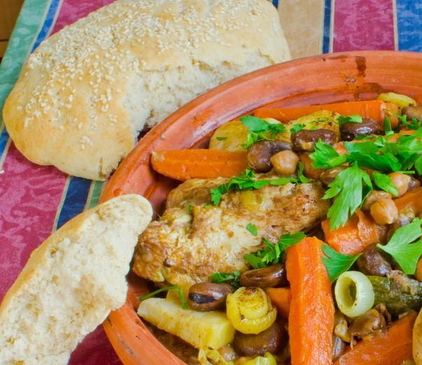 Vegetable chicken tagine