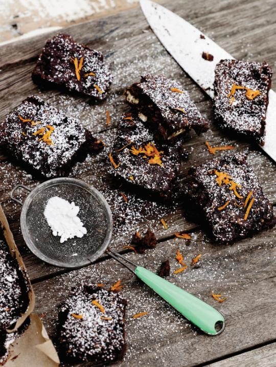 Dark chocolate and orange zest brownies