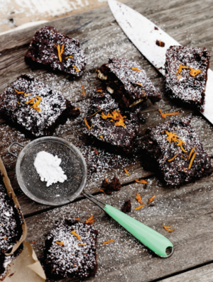 Dark chocolate and orange zest brownies
