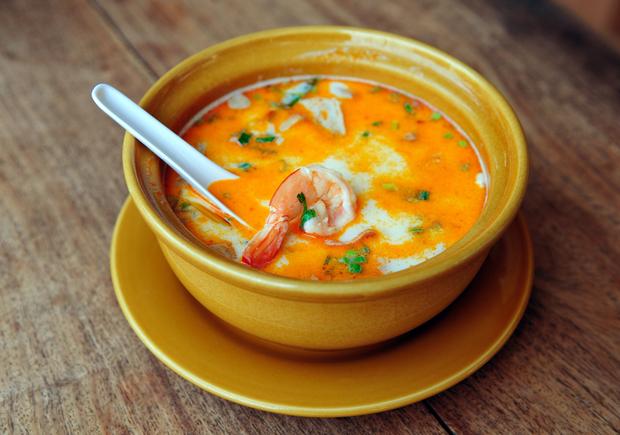 Asian noodle soup with prawns