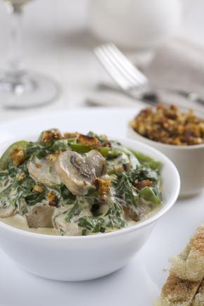 Savoury spinach and mushroom bread pudding