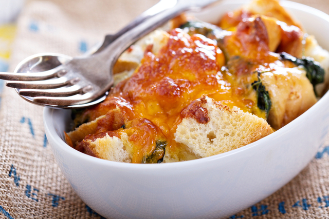 Spinach and cheese bread casserole
