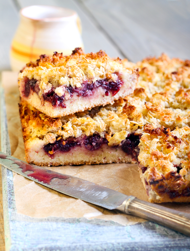 Cherry, chocolate and coconut squares