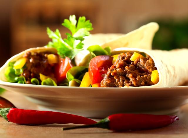 Spiced lamb burritos