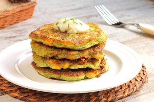 Smoked salmon and vegetable pancakes