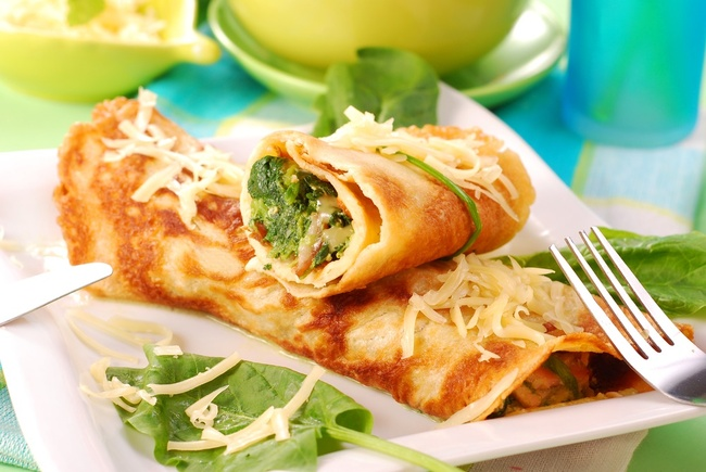 Cheese and spinach pancakes