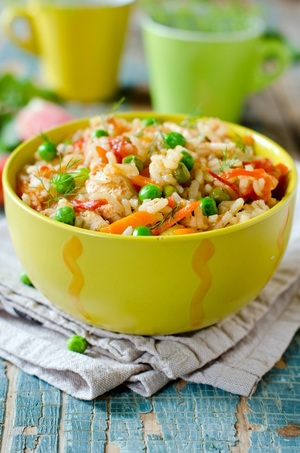 Brown rice and peas with citrus dressing