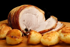 Crackling pork with homemade apple sauce