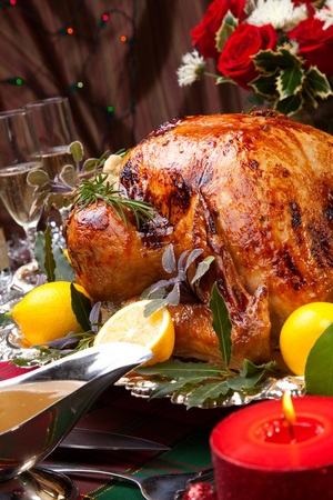 Christmas turkey with stuffing and gravy