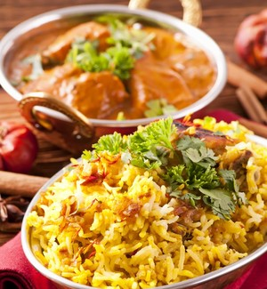 Low-fat biryani with chicken