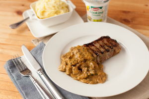 Nevens Sirloin Steak with Peppered Whiskey Sauce
