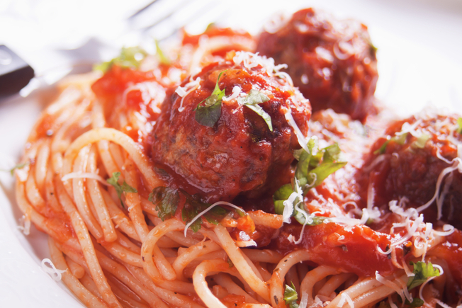 Spaghetti and meatballs with secret vegetable sauce