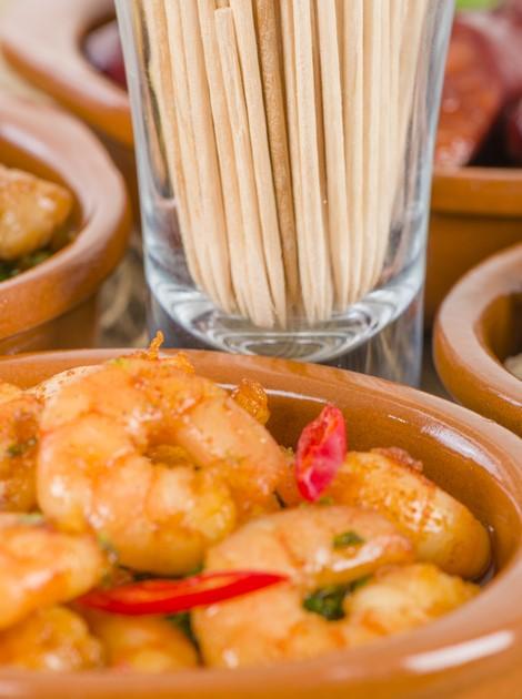 Prawn and chorizo bites with garlic gremolata