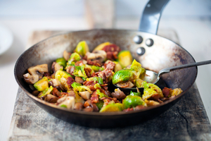 Buttered sprouts with chestnuts and crispy bacon