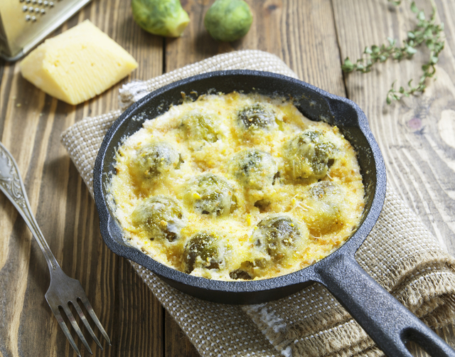Sprouts with bacon gratin