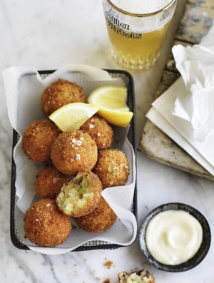 Salt cod fritters with fresh lemon