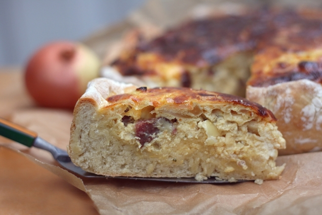Onion, cabbage and egg pie