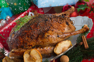 Christmas goose with root vegetables