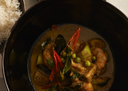 Green curry of prawns