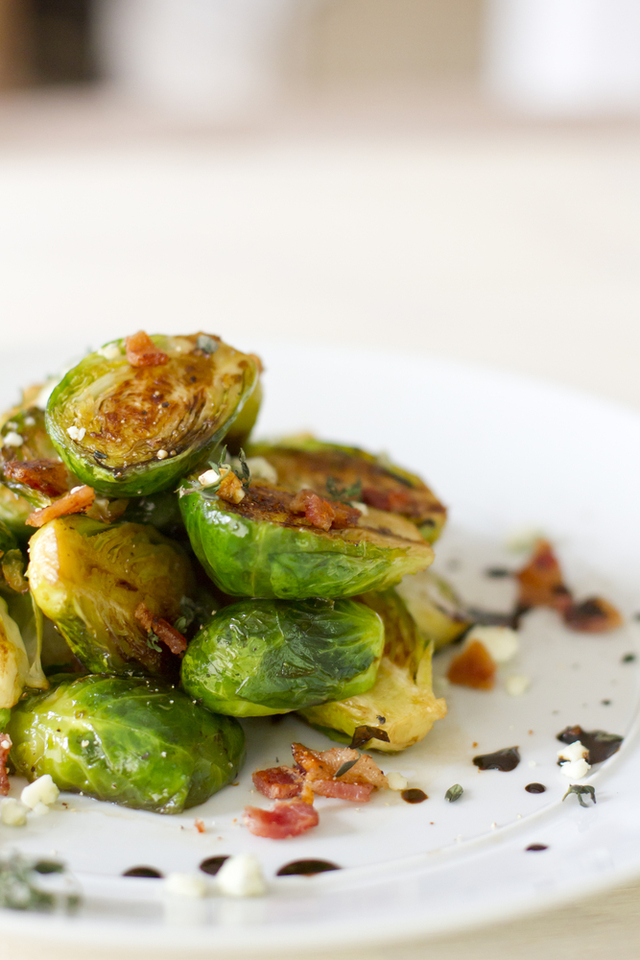 Buttered Brussel sprouts with chestnuts and pancetta