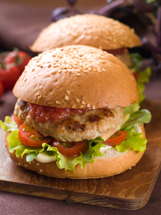 Pork burgers and herb flavoured chips