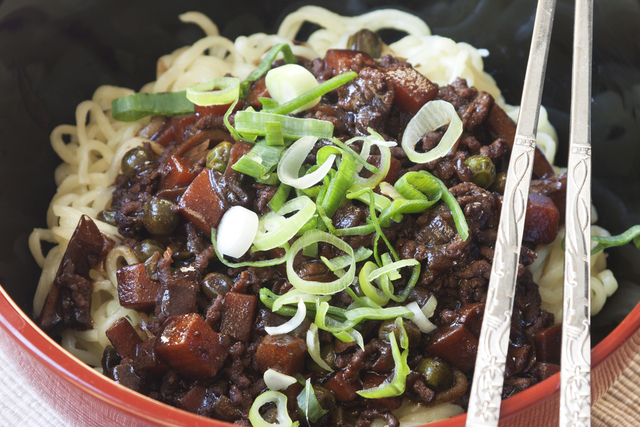 Pork with black bean and noodles