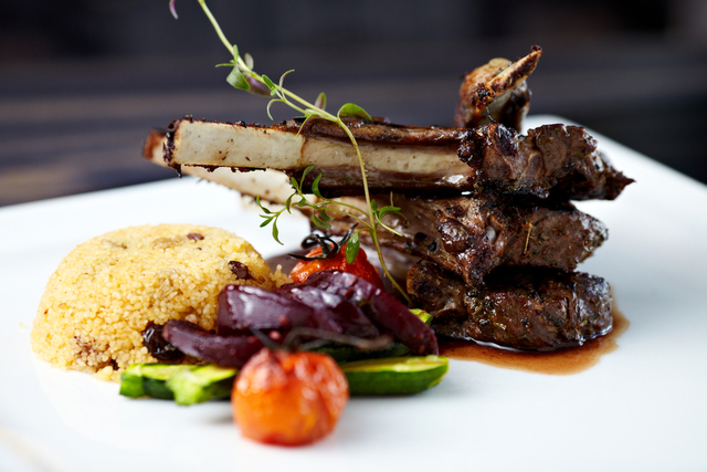 Lamb with warm couscous and mixed vegetables