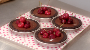 Decadent chocolate and cherry tartlets