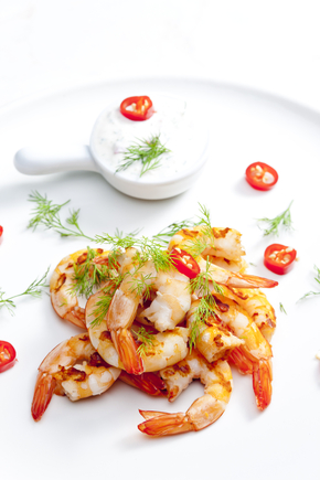 Spiced prawns with coriander and dill mayo