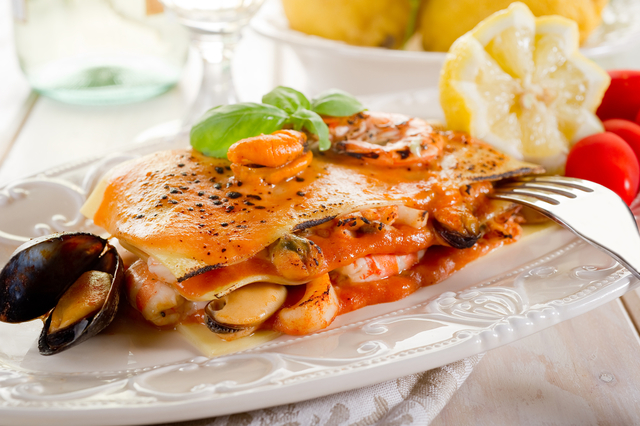 Mixed seafood and spinach lasagne