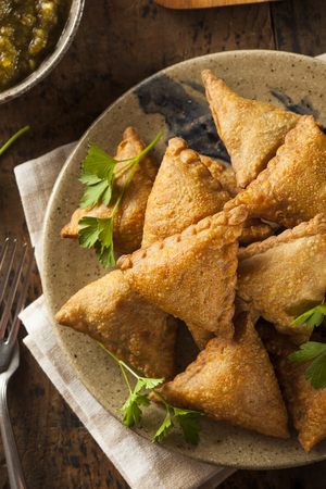 Sweet potato and pea parcels