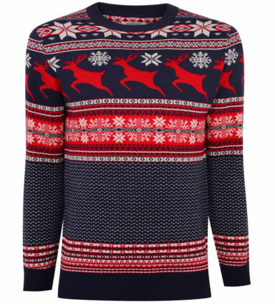 Burton Reindeer Fairisle Crew Neck Christmas Jumper