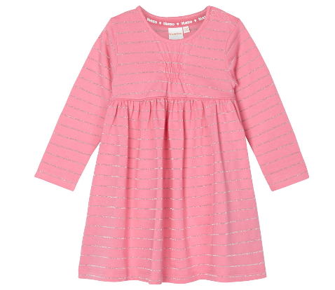 Bluezoo Girl's pink striped glitter dress