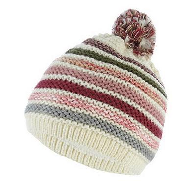 Cream Multi Striped Bobble Hat