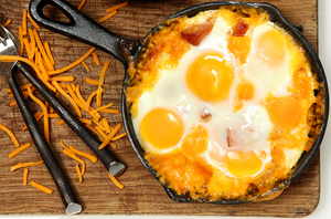 Baked eggs and sausage tortilla