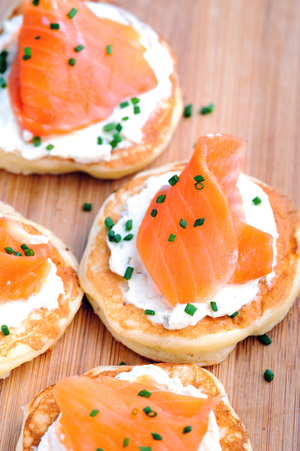 Smoked salmon and chive pancakes
