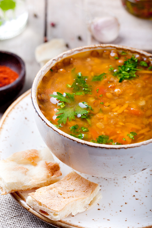 Red pepper and lentil soup