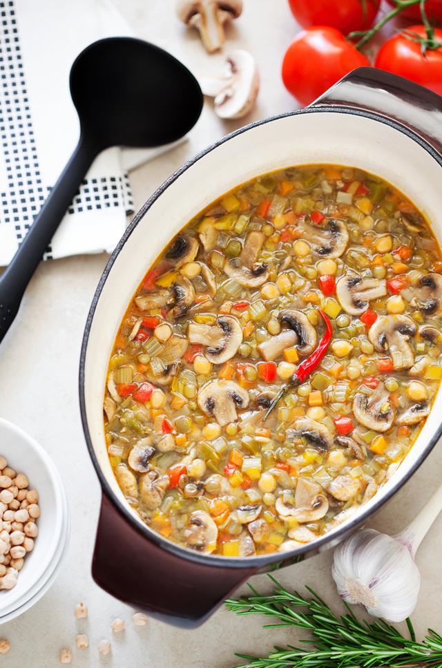 Lentil and mushroom bake