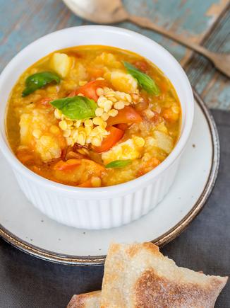 Chicken and orange lentil soup