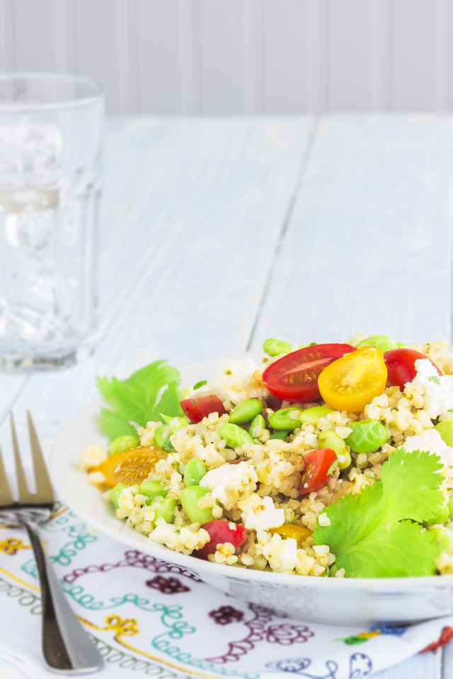 Moroccan bulghar wheat and feta salad