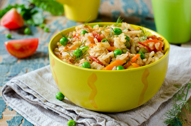 Chicken pilaf with mixed vegetables and beans