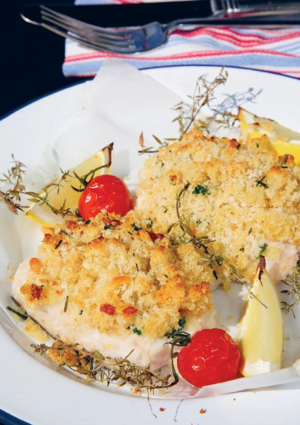 Crusted hake with crunchy pine nut topping
